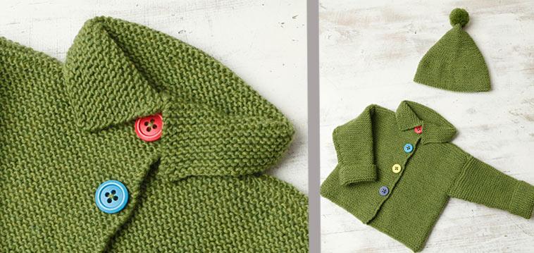 Anleitung Baby-Strickjacke mit Mütze
